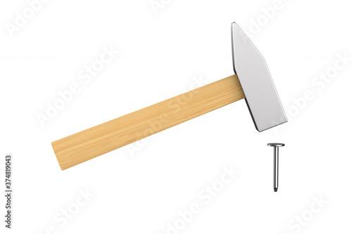 Obraz na plátně hammer and nail on white background. Isolated 3D illustration