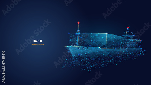 Tablou Canvas Abstract low poly 3d cargo ship isolated in dark blue background