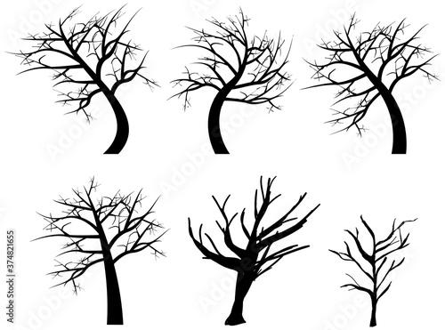 Photo ハロウインの装飾に使える怪しい枯れ木のイラスト