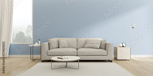 3d render of modern living room with sofa and wooden floor on blue wall and nature background.