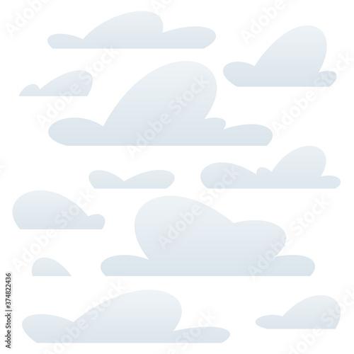 Obraz na plátně Cartoon clouds set vector isolated illustration