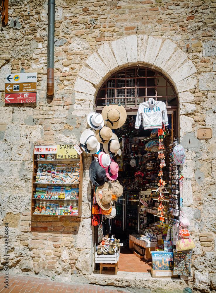 San Gimignano, Italy: souvenir shop in piazza Duomo.