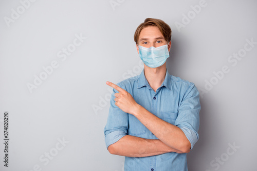 Leinwand Poster Portrait of his he nice attractive healthy content guy wearing safety mask demon