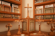Jesus Cross Made Of Wood Next To The Bible