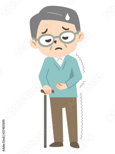 Fotografie, Tablou 半身麻痺で杖をつく高齢者男性