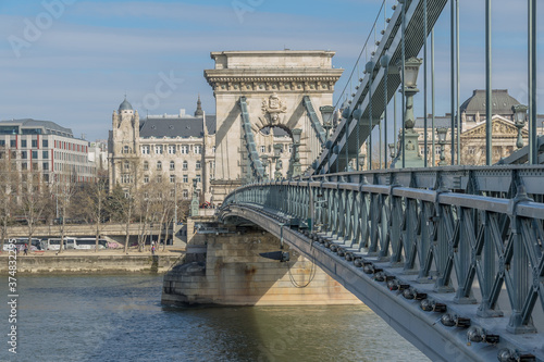 Fototapeta Beautiful Chain Bridge in Budapest, Hungary