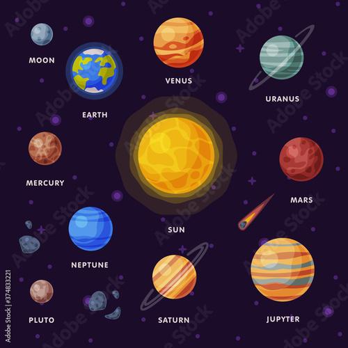 Solar System, Earth, Saturn, Mercury, Venus, Earth, Mars, Jupiter, Saturn, Uranus, Neptune, Pluto, Moon Planets in Galaxy Universe Vector Illustration