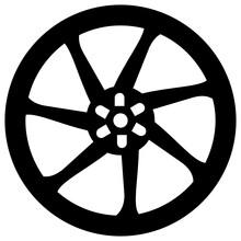 A Modified Wheel, Chrome Rim Filled Icon, Editable Design