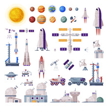 Space Objects Collection, Rocket, Shuttle, Rover, Artificial Satellite, Observatory, Spaceport, Space Industry Concept Vector Illustration