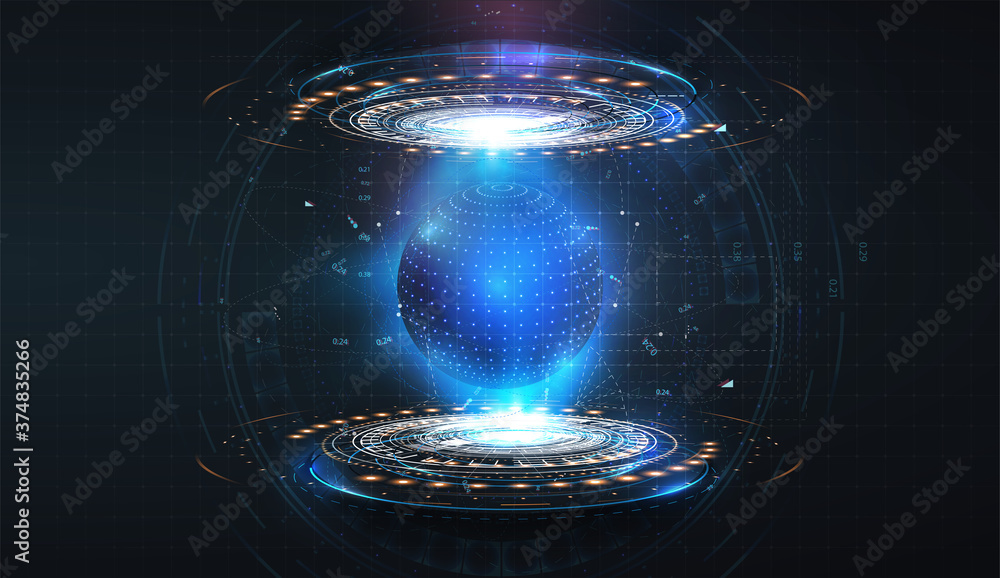 Fototapeta Futuristic circles forming a protective blue sphere on an isolated background. Bubble shield. Dome geometric in the form of an energy shield in an abstract glowing style. Vector illustration