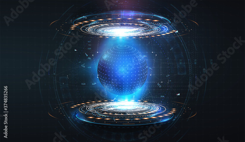 Fotografie, Obraz Futuristic circles forming a protective blue sphere on an isolated background
