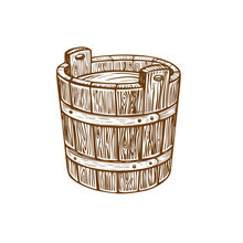 Woodcut Of An Old Wood Bucket....