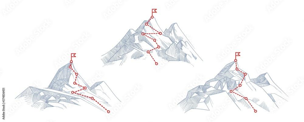 Fototapeta Mountain paths. Progress, success hiking path business metaphor. Journey climb to peak or route of mission. Progressive career way vector illustration. Mountain goal progress, career business