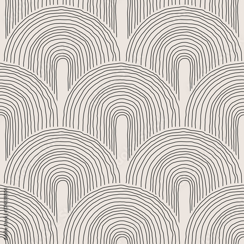 Fotografiet Trendy minimalist seamless pattern with abstract creative hand drawn composition