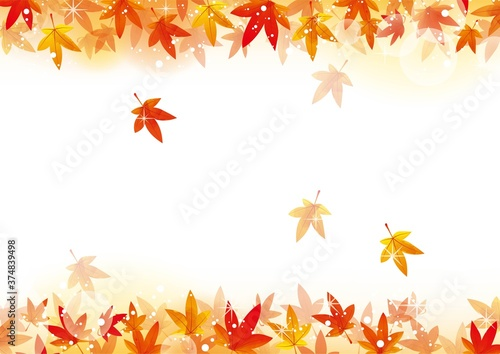 Fototapeta キラキラした秋の紅葉フレーム02