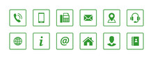 Set Contact Icons In A Square. Green Vector Symbol Elements.