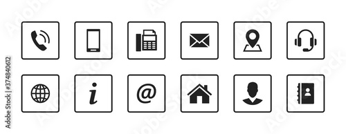 Cuadros en Lienzo Set contact icons in a square. Black vector symbol elements.