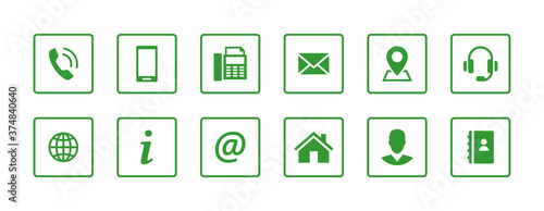 Fotomural Set contact icons in a square. Green vector symbol elements.