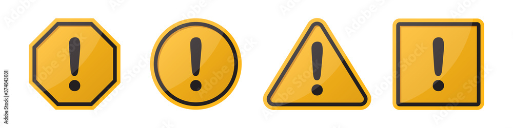 Fototapeta Set of hazard attention sign with exclamation mark in different shapes in orange