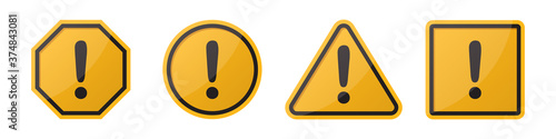 Papel de parede Set of hazard attention sign with exclamation mark in different shapes in orange