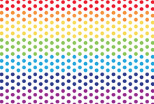 Colour Polka Dot Pattern. Vector Rainbow Polka Dot Pattern.  Gradient Polka Dot Pattern.