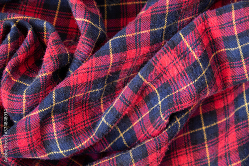 Fotografie, Obraz Plaid red flannel warm fabric texture