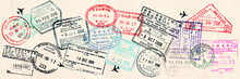 Passport Visas Stamps On Sepia...