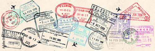 Obraz Passport visas stamps on sepia textured, vintage travel collage background - fototapety do salonu