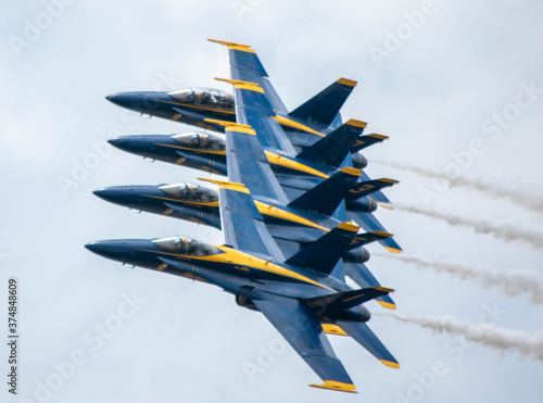 Blue Angels in the turn at Pensacola Florida Wallpaper Mural
