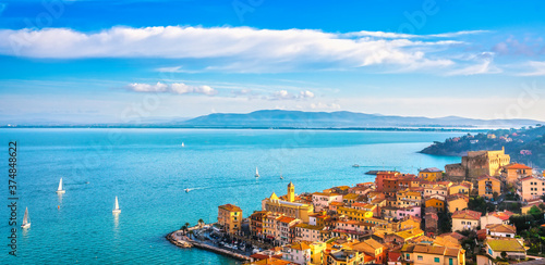 Porto Santo Stefano village, church and castle aerial view Canvas Print