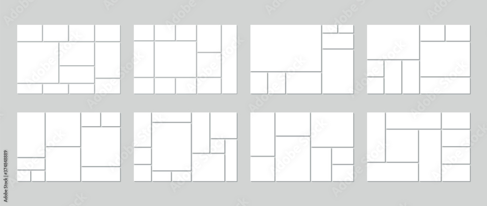 Fototapeta Photo collage template. Vector. Mood board. Set of picture grids. Blank moodboard background. Mosaic frame banner. Photography album layout. Horizontal design of mockup. Simple illustration.