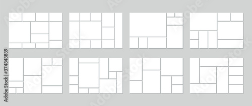 Obraz Photo collage template. Vector. Mood board. Set of picture grids. Blank moodboard background. Mosaic frame banner. Photography album layout. Horizontal design of mockup. Simple illustration. - fototapety do salonu