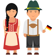 A Perfect German Outfit Carried By A Couple, Flat Vector