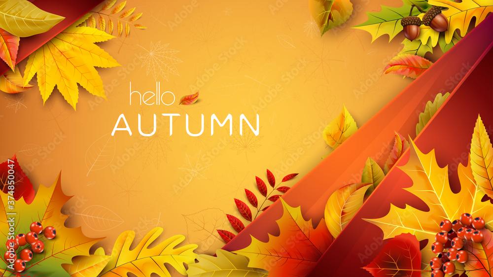 Fototapeta Autumn illustration for text with fallen leaves - obraz na płótnie