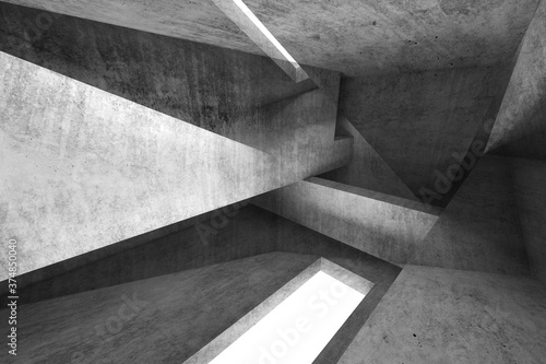 Abstract dark background, intersected concrete walls 3d Fototapeta