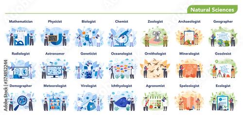 Natural scientist profession set illustration. Idea of scientific Canvas Print