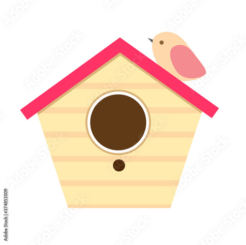 Photographie Wooden birdhouse with bird sitting on it