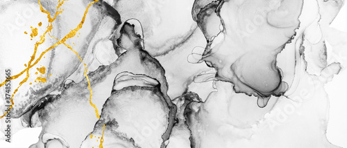 Foto Modern hand painted artwork of abstract transparent alcohol ink background