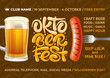 Bright and attractive Oktoberfest celebration flyer with realistic objects and lettering. Seamless Pattern with different subjects related with beer festival on background. Vector illustration.