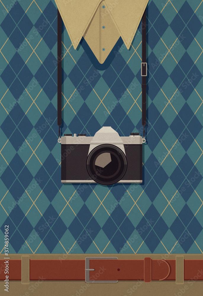 Fototapeta Photographer with vintage camera
