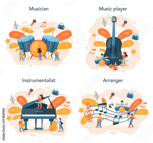Professional musician playing musical instruments set. Young performer
