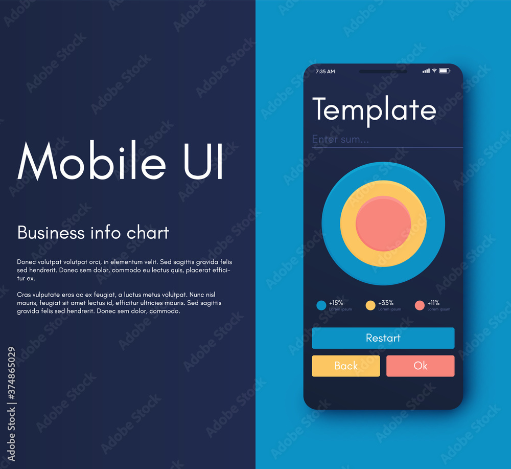 Fototapeta Vector graphics mobile infographics with three options. Template for creating mobile applications, workflow layout, diagram, banner, web design, business reports with 3 steps.
