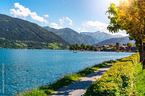 Fototapeta Lake Zell, German: Zeller See, and mountains on the backround. Zell am See, Austrian Alps, Austria obraz na płótnie
