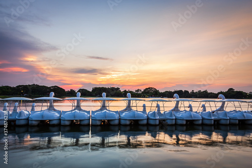 Fotografia Row of white swan spinning pedal boats on water in a lake of public park under S