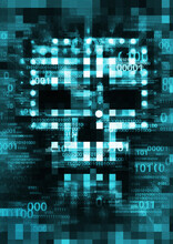 Pixel Skull,Computer Virus, Blue Background. Illustration Of Abstract Skull Sign With Destroyed Binary Codes. Web Hacking. Online Piracy Concept.