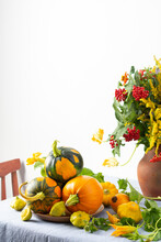 Beautiful Bouquet Of Ragweeds, Zinnia And Branches Of Viburnum In A Clay Pot, Fresh Harvest Of Pumpkins On A Table Against A White Wall