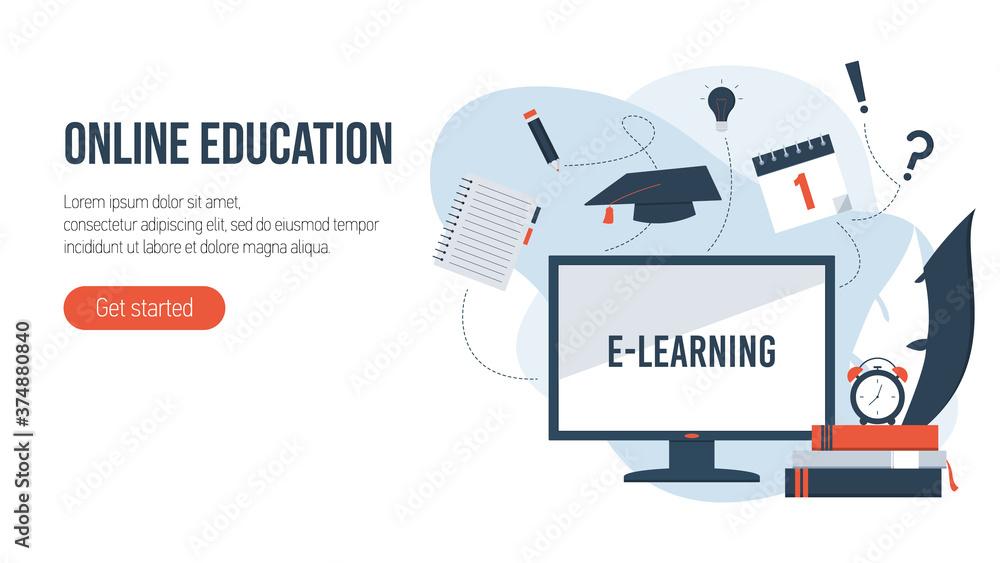 Fototapeta Online education concept. Flat isometric illustration.