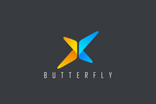 Butterfly Logo Abstract Geometric Design Vector Template. Letter X Logotype Icon Digital Technology Style.