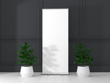 Roll Up Banner Stand Mockup In Living Room. 3D Rendering.