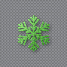 Glitter Green Snowflake. Christmas Decorative Design Element. Decoration For New Year Holidays. Isolated On Transparent Background. Vector Illustration.